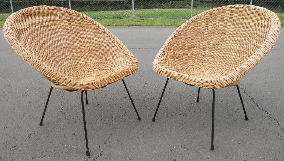 Pair 1960 S Wicker Bucket Shaped Chairs Sold